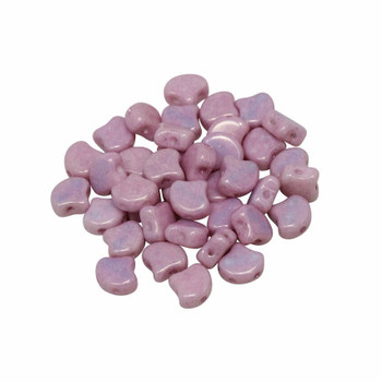 Matubo Czech Glass Ginkgo Leaf Beads -- Metallic Pink Luster