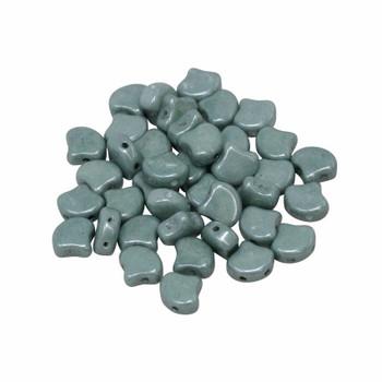 Matubo Czech Glass Ginkgo Leaf Beads -- Green Luster