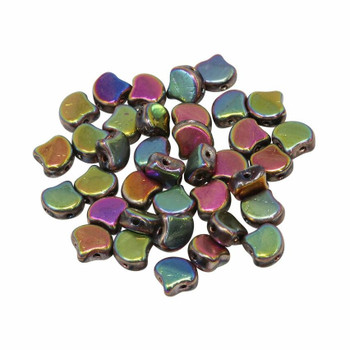 Matubo Czech Glass Ginkgo Leaf Beads -- Crystal Full Vitex