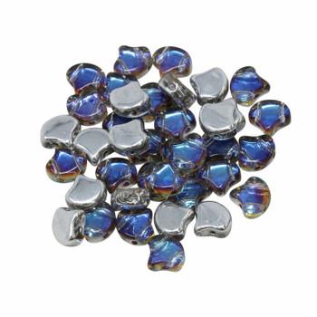 Matubo Czech Glass Ginkgo Leaf Beads -- Petroleum Backlit