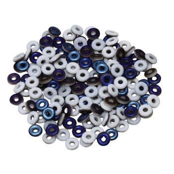 Glass O Beads -- Opaque White 1/2 Blue Iris Matte