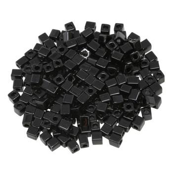 3mm Miyuki Cube Seed Beads -- Black