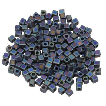 3mm Miyuki Cube Seed Beads -- Black AB Matte