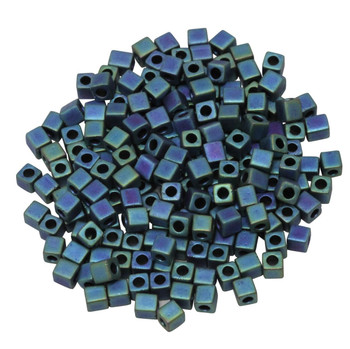 3mm Miyuki Cube Seed Beads -- Blue Teal Iris Matte