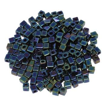 3mm Miyuki Cube Seed Beads -- Dark Blue Iris
