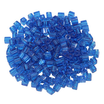 3mm Miyuki Cube Seed Beads -- Transparent Capri Blue
