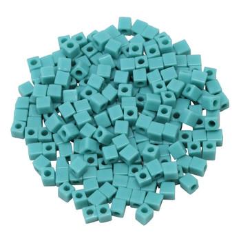 3mm Miyuki Cube Seed Beads -- Opaque Turquoise