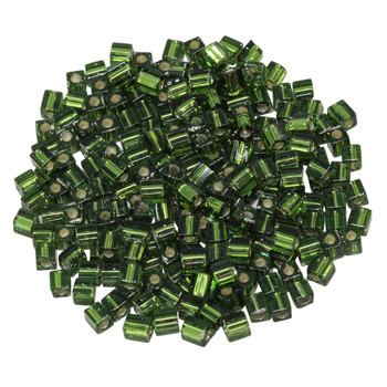 3mm Miyuki Cube Seed Beads -- Olivine / Silver Lined