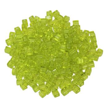 3mm Miyuki Cube Seed Beads -- Transparent Lime