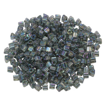 Size 8 Toho Triangle Seed Beads -- Transparent Grey Rainbow