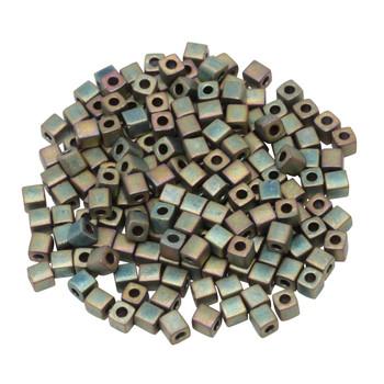 3mm Miyuki Cube Seed Beads -- Matte Metallic Khaki Iris