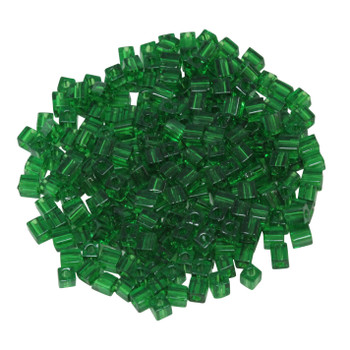 3mm Miyuki Cube Seed Beads -- Transparent Green
