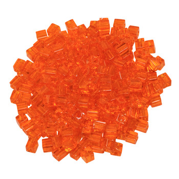 3mm Miyuki Cube Seed Beads -- Transparent Orange