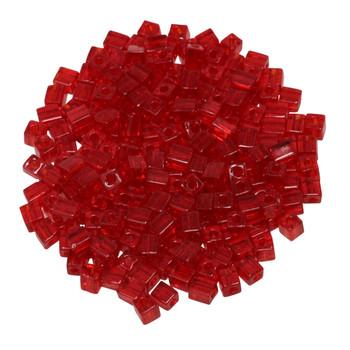 3mm Miyuki Cube Seed Beads -- Transparent Ruby