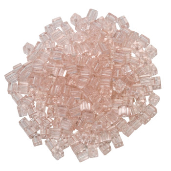 3mm Miyuki Cube Seed Beads -- Transparent Tea Rose