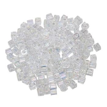 3mm Miyuki Cube Seed Beads -- Crystal AB