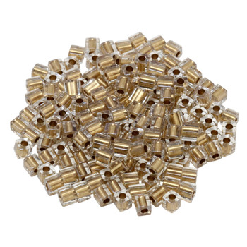 3mm Miyuki Cube Seed Beads -- Crystal / Metallic Gold Lined