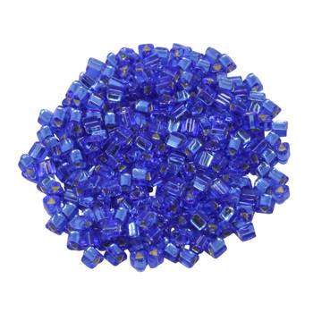 Size 8 Toho Triangle Seed Beads -- Sapphire / Silver Lined
