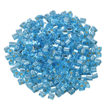 Size 8 Toho Triangle Seed Beads -- Aquamarine / Silver Lined