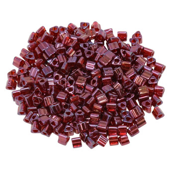Size 8 Toho Triangle Seed Beads -- Raspberry Gold Luster