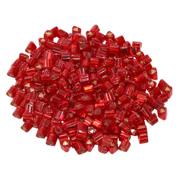 Size 8 Toho Triangle Seed Beads -- Ruby / Silver Lined