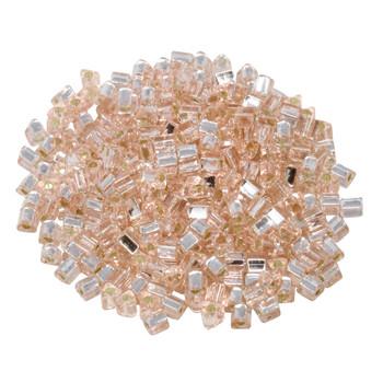 Size 8 Toho Triangle Seed Beads -- Rosaline / Silver Lined