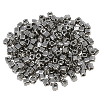 3mm Miyuki Cube Seed Beads -- Nickel Plated