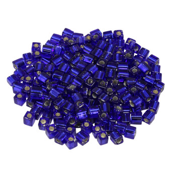 3mm Miyuki Cube Seed Beads -- Dark Sapphire / Silver Lined