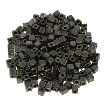3mm Miyuki Cube Seed Beads -- Metallic Brown Iris