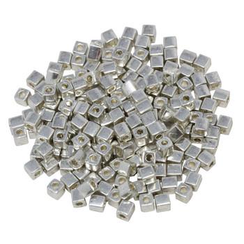 3mm Miyuki Cube Seed Beads -- Galvanized Silver