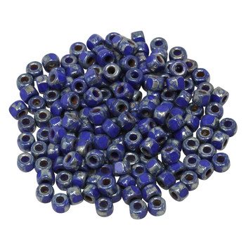 Size 6 Matubo 3 Cut Seed Beads -- Picasso Opaque Blue