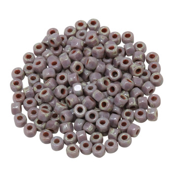 Size 6 Matubo 3 Cut Seed Beads -- Opaque Violet Travertine Dark