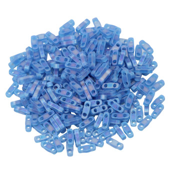 Quarter Tila Beads -- Transparent Capri AB Matte