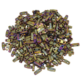 Quarter Tila Beads -- Metallic Purple / Gold Iris