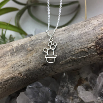 Potted Prickly Pear - Sterling Silver