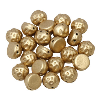 CzechMates® 7mm Cabochon 2 Hole Beads -- Baroque Pale Gold