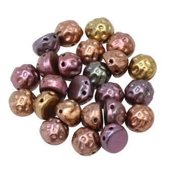 CzechMates® 7mm Cabochon 2 Hole Beads -- Baroque Dark Gold Rainbow