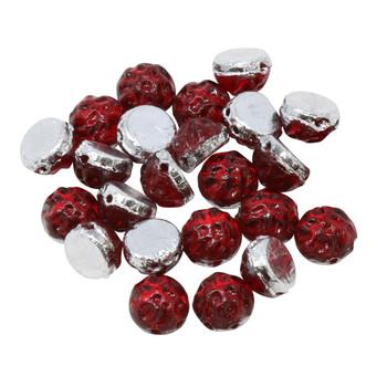 CzechMates® 7mm Cabochon 2 Hole Beads -- Baroque Ruby Backlit