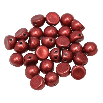 CzechMates® 7mm Cabochon 2 Hole Beads -- Saturated Metallic Aurora Red