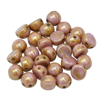 CzechMates® 7mm Cabochon 2 Hole Beads -- Opaque Rose / Gold Topaz Luster