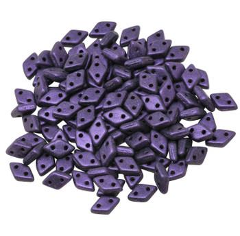 CzechMates® Diamond 2 Hole Beads -- Metallic Purple Suede