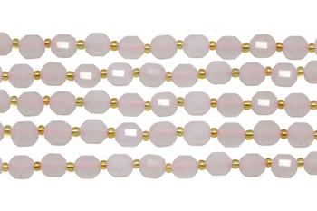 Rose Quartz Polished 7x8mm Faceted Prism