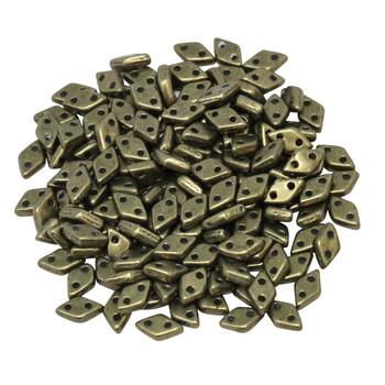 CzechMates® Diamond 2 Hole Beads -- Saturated Metallic Emperador