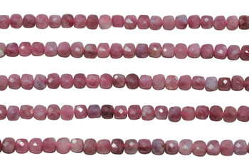 Pink Tourmaline Polished 4mm Faceted Cube