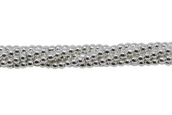 Sterling Silver Plated Hematite Polished 2mm Round