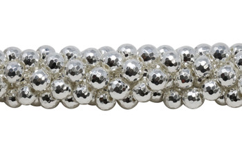 Sterling Silver Plated Hematite Polished 10mm Faceted Round