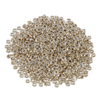 Size 8 Toho Demi Round Seed Beads -- Crystal / Gold Lined
