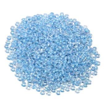 Size 8 Toho Demi Round Seed Beads -- Crystal / Aqua Rainbow Lined