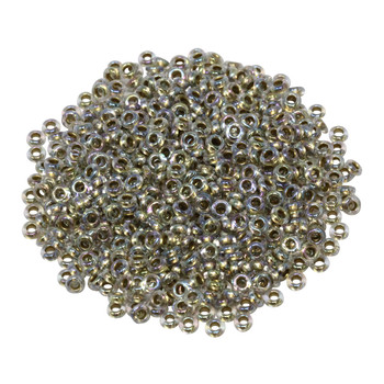 Size 8 Toho Demi Round Seed Beads -- Crystal Rainbow / Gold Lined