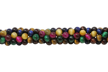 Mixed Tiger Eye A Grade Dyed Polished 8mm Round